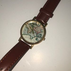 Genuine leather map watch